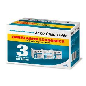 Accu Chek Guide Roche 3 Frascos Com 50 Tiras Embalagem Economica